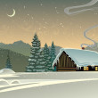Forest winter landscape with a hut — Stock Vector