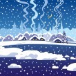 Winter dark blue evening landscape — Stock Vector