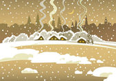 冬の夜の風景 — ストックベクタ