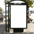Royalty-Free Stock Photo: Blank busstop billboard with clipping path
