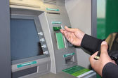 Transaction at an ATM — Stock Photo