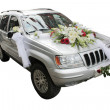 Silver wedding decorated jeep car isolated on white — Stock Photo
