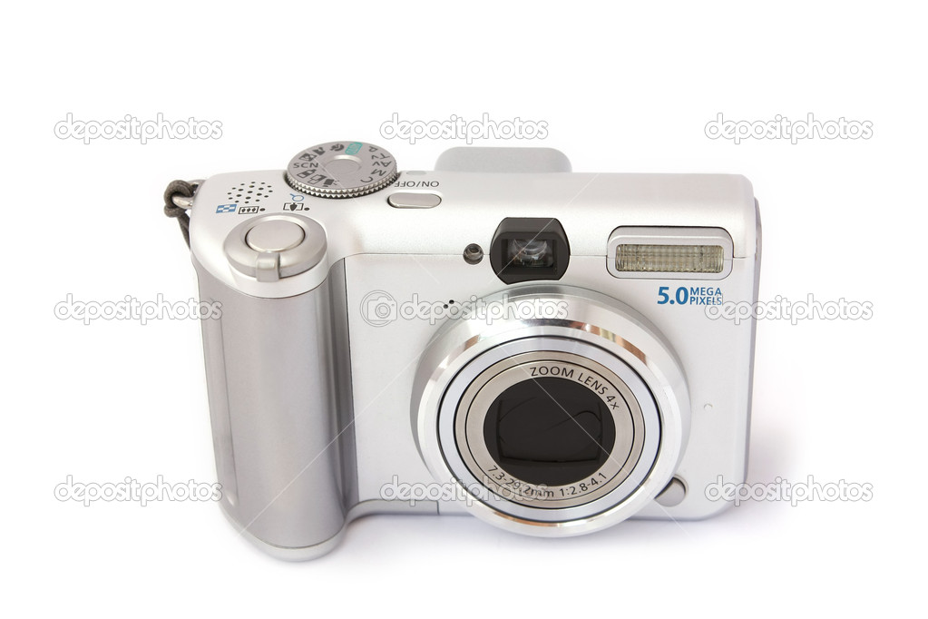 Compact digital camera isolated on white. Front view. — Stock Photo #11920066