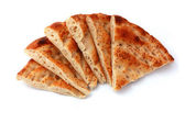 Six slices pita bread isolated on white. Popular food in Ramadan in Turkey. — Stock fotografie