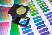 Magnifying Glass on Color Swatches Series — Stock Photo