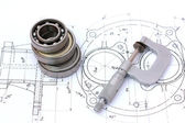 Three ball bearings over and over with micrometer on technical d — Stock Photo