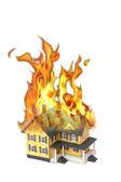 Burning house isolated on white — Stock Photo
