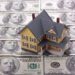 Stock Photo: Miniature house on one hundred dollar banknotes