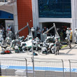 Mercedes team at Pit Stop with Michael Schumacher - Stock Photo