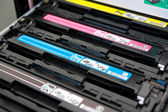 Cartridges of color laser multifunction printer — Stock Photo