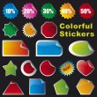 Collection of brightly colored, glossy stickers set — Stock Vector
