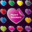 Collection of brightly colored, glossy heart shaped stickers set — Stock Vector