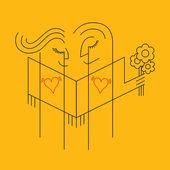 Love themed, line style illustration — Stock Vector