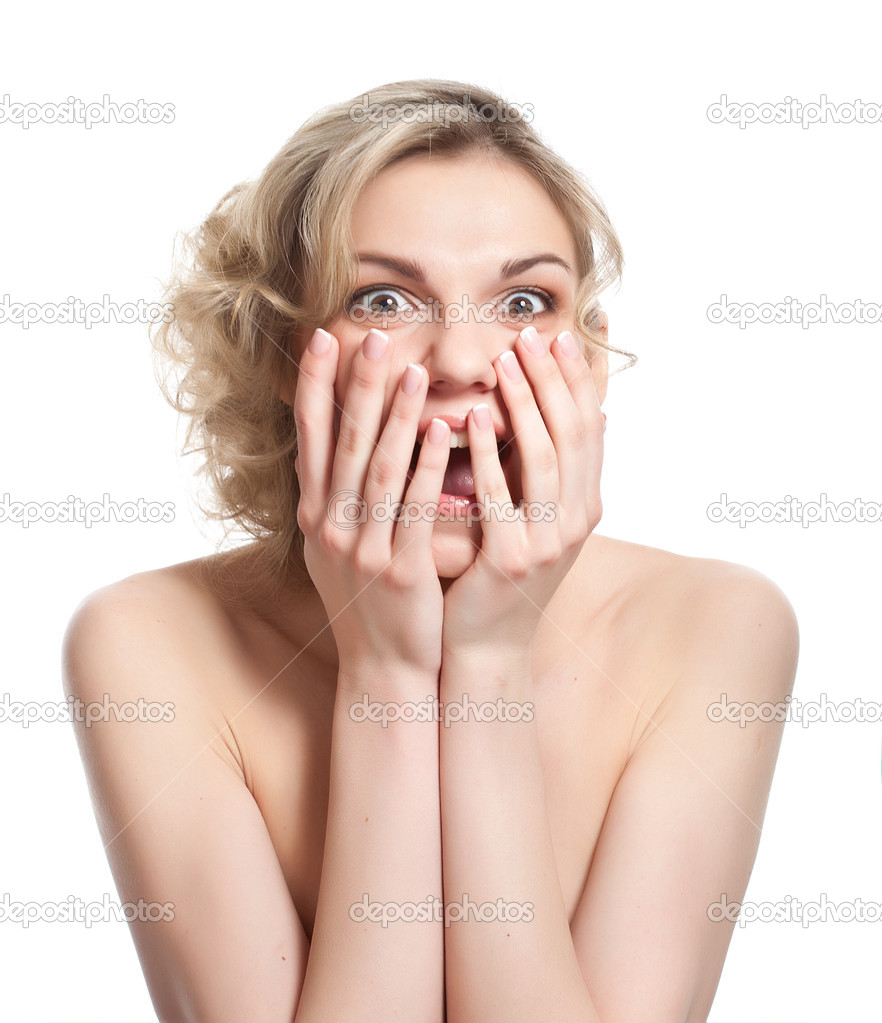 Shocked woman is smiling. Isolated on a white background — Stock Photo #11655777