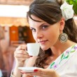 Greek woman in the cafe — Stock Photo #11897127