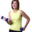 Pretty Girl Exercising With Hand weights — Stock Photo