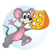 Mouse with cheese — Stock Vector