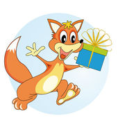 Fox with a gift — Stock Vector