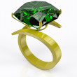 Gold ring with an emerald — Stock Photo #12320317
