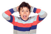 Surprise boy with a striped jersey — Stock Photo