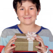 Adorable boy with a present - Stock Photo