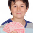 Adorable boy playing cards - Stockfoto