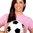 Atractive girl with a soccer ball — Stock Photo #10978017
