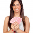 Atractive girl playing cards - Stock Photo