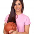Atractive girl with a big piggy-bank — Stock Photo