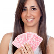 Atractive girl playing cards — Stock Photo
