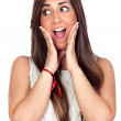 Surprised girl with long hair — Stock Photo
