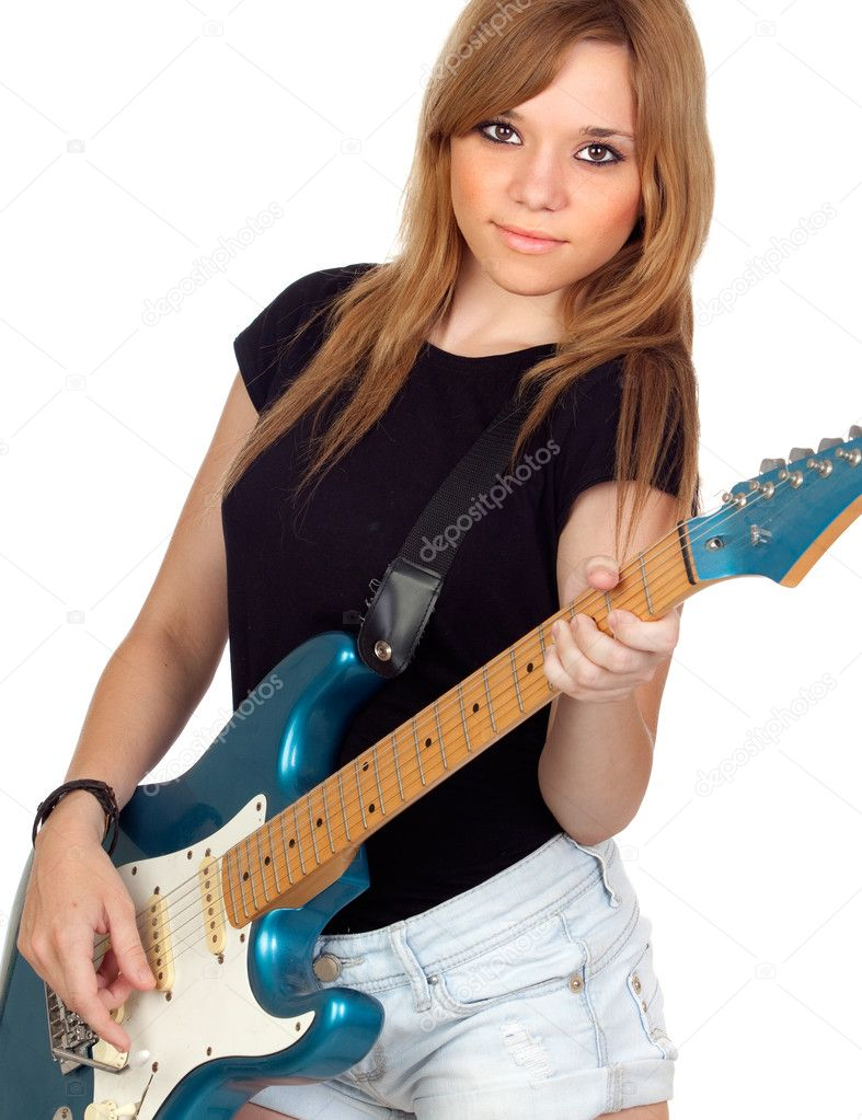 teen rebellious girl playing electric guitar stock photo gelpi 11817625. Black Bedroom Furniture Sets. Home Design Ideas
