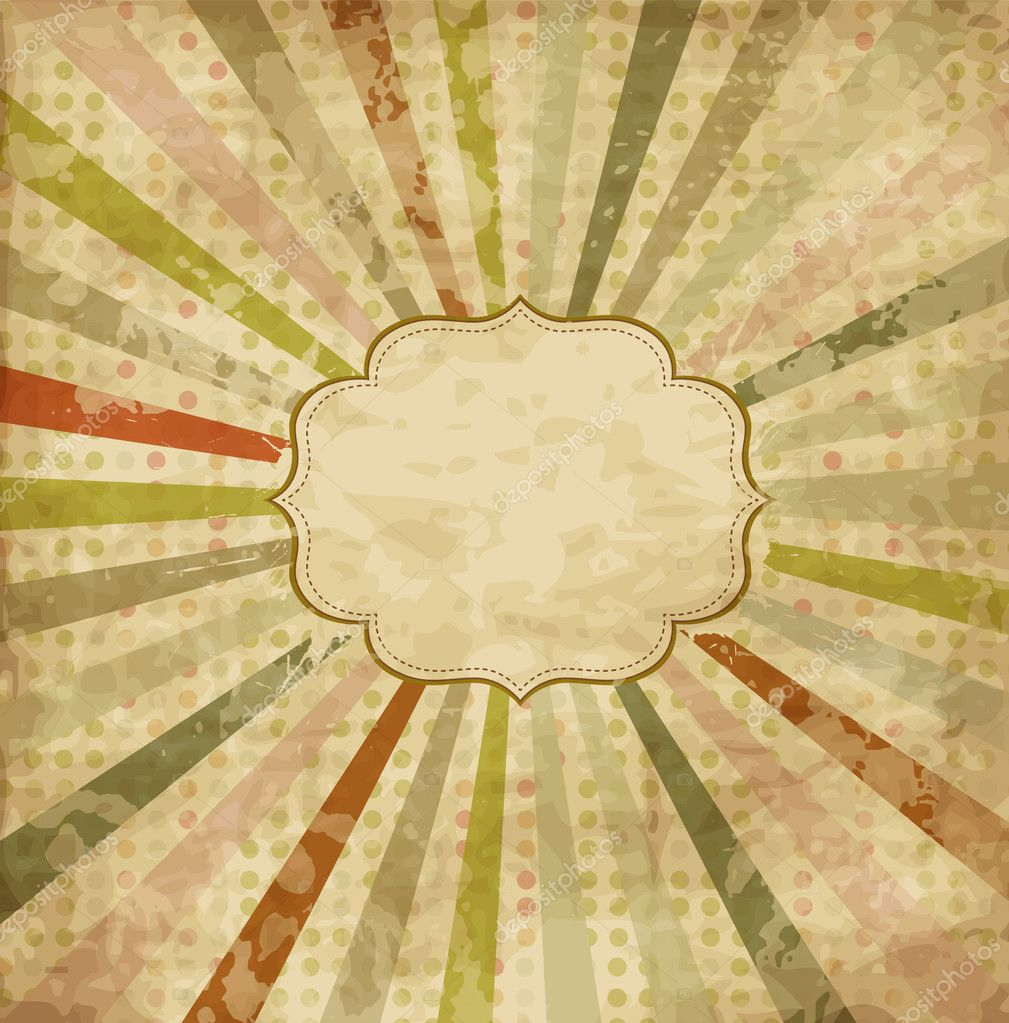 Vintage scrap template with sunbeams on polka dot background stock