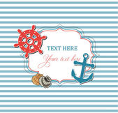 Scrap nautical card with frame — Stockvector