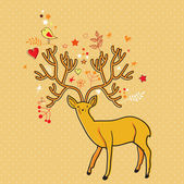 程式化的卡与鹿和鸟 — 图库矢量图片