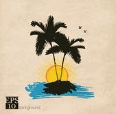 Palm trees, sun and birds background — Stock Vector