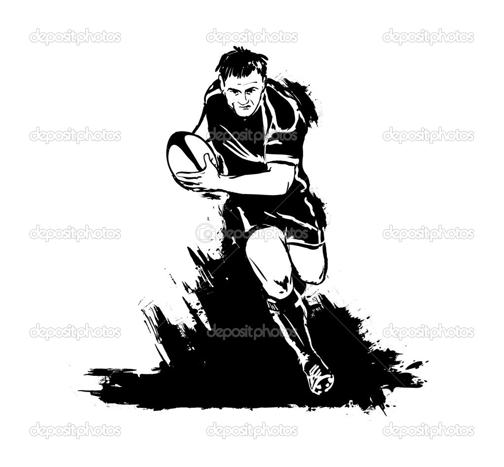 Running rugby with the ball — Stock Vector #10789780