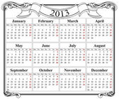 2013 retro calendar grid — Stock Vector