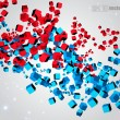 Royalty-Free Stock Vector Image: 3D abstract chaotic whirl of colored cubes