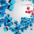 3D abstract chaotic whirl of colored cubes — Stock Vector #11169719