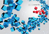 3D abstract chaotic whirl of colored cubes — Stock Vector