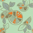Stock Vector: Citrus seamless pattern on green background