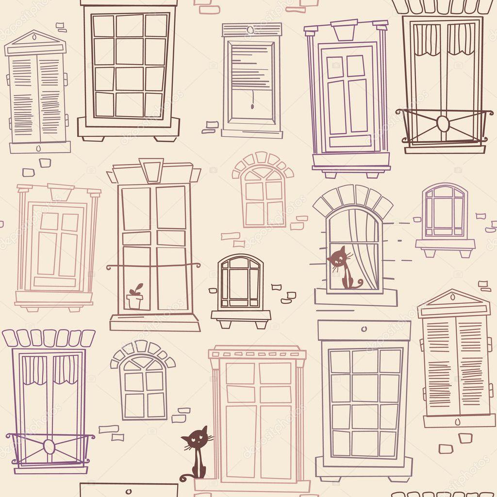 Illustration with windows, seamless pattern — Stock Vector ...