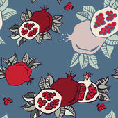 Pomegranates seamless background, Vector — Stock Vector