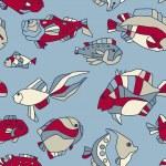 Seamless pattern aquarium fish wave — Stock Vector #11948044