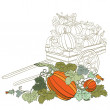 Pumpkins in wagon, with fall autumn colors — Stock Vector