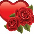 Red heart and red roses — Stock Photo