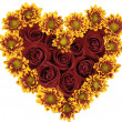 Stock Photo: Heart consisting of red roses and yellow flowers