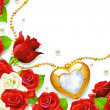 Stock Photo: Red and white roses gold ornament