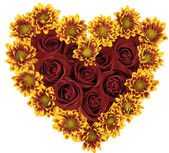 Heart consisting of red roses and yellow flowers — Stock Photo
